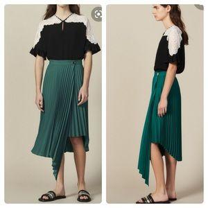 NEW SANDRO Pleated high-waisted crepe wrap skirt